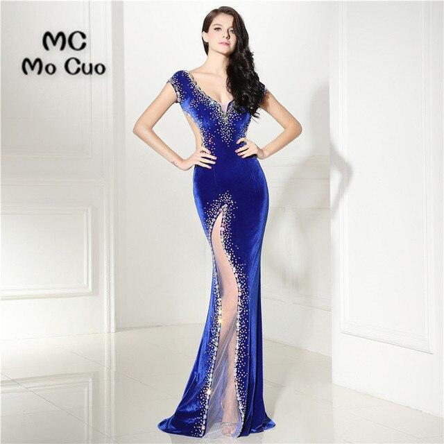 2017 Prom Royer con Blu de Vestidos In Sexy Dresses Rilievo Sirena qggUS