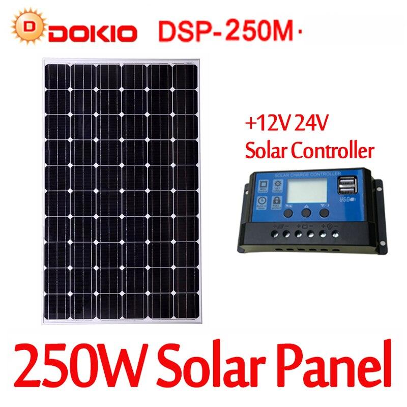 Dokio Monocrystalline Silicon Solar Panel 250W 30V With 12v/24v Controller High Quality Tempered Glass 250W Solar Panel China