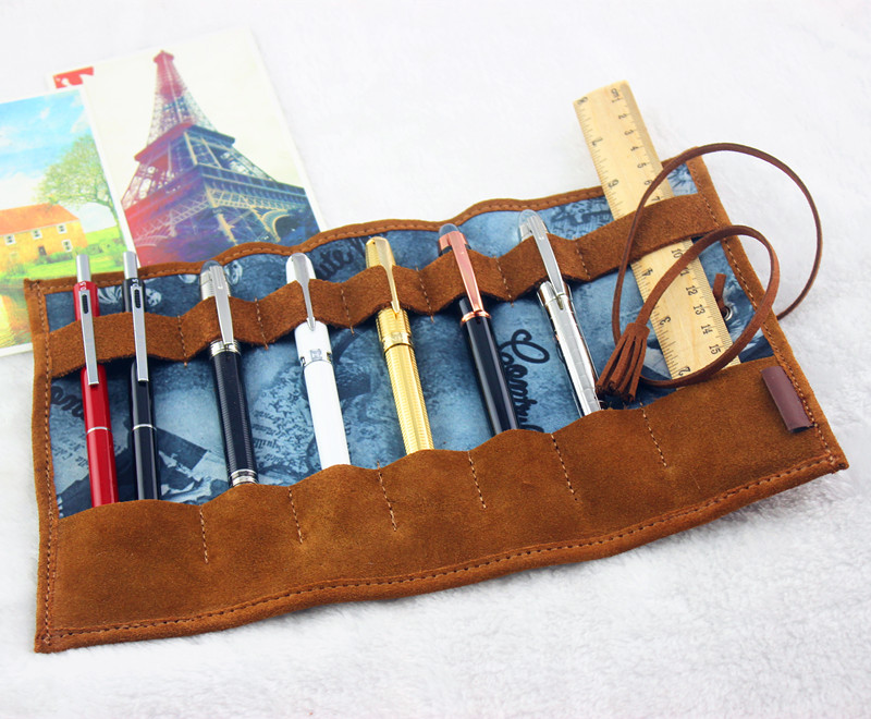 Creative 100% Leather Pencil Case Bags Gift Cosmetic Bag Fountain Pen Case Storage For Business Office School Supplies vintage genuine natural leather pen bag custom black white pencil case for fountain pens school office supplies travelers