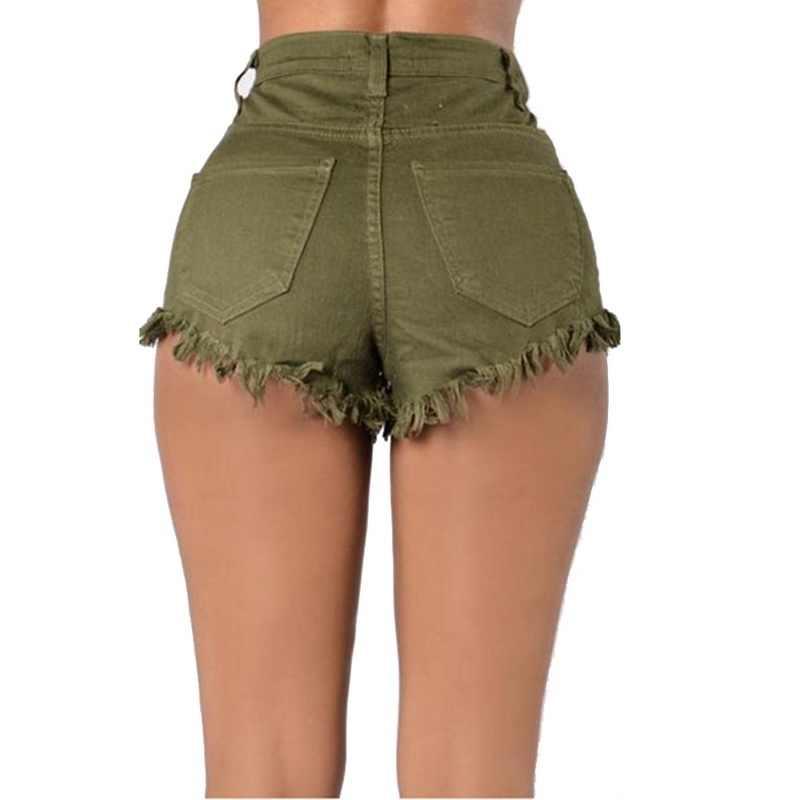 Nowe spodenki na co dzień kobiety Sexy elastyczna wysoka talia kieszenie dżinsy krótkie kobieta moda lato spodenki jeansowe stałe Tassel zgrywanie szorty