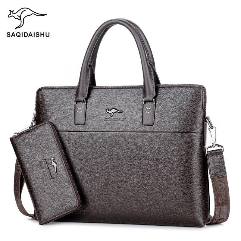 e00dfdb8a4 SAQIDAISHU High Quality Leather Men Briefcase Large Capacity Male Business  Handbag Gentleman Male Messenger Bag Classic Style