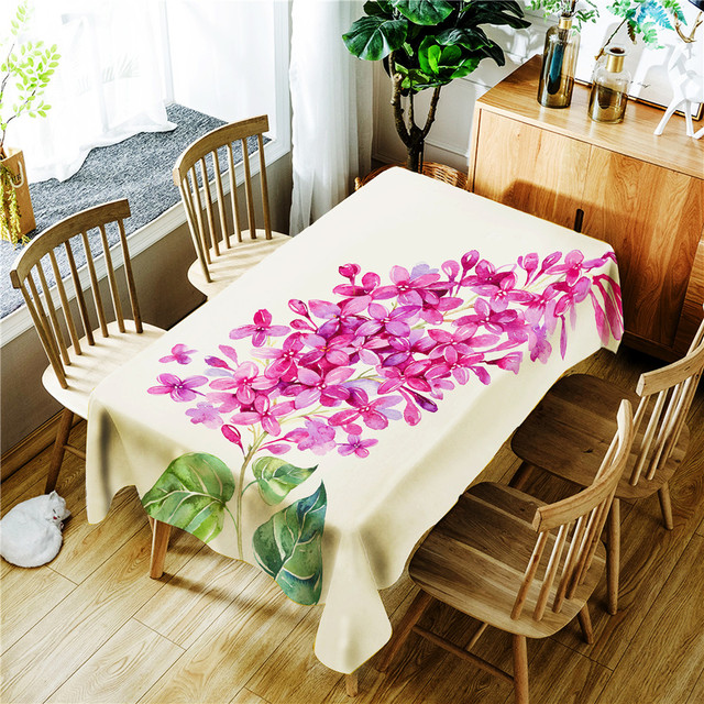 Printed Tablecloth Purple Flowers Green Leaves Pattern Polyester Waterproof Rectangular Wedding Party Table Cover