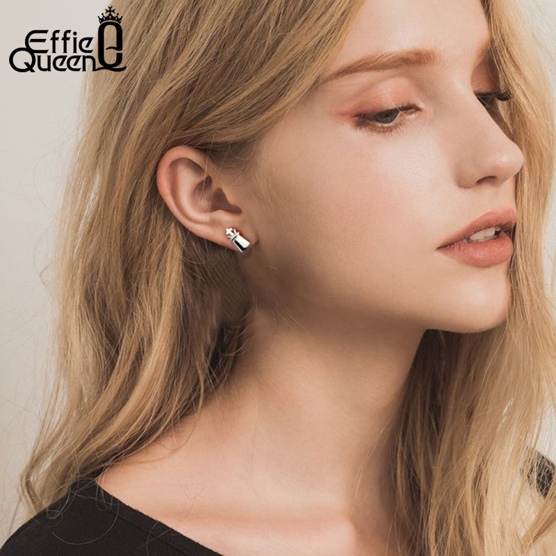Effie Queen Genuine Silver 925 Earrings For Women Chess Cross Mini Stud Earing Sterling Silver Jewelry New 925 Orecchini BE133 in Earrings from Jewelry Accessories