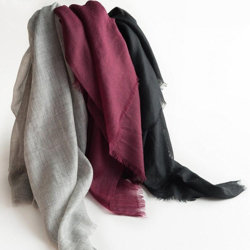 Чистый козел кашемир женская Мода Большие размеры шарфы шали пашмины 70x200 см сплошной цвет