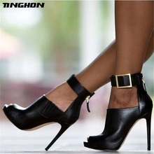 TINGHON New Design Women Chelsea Boots Black Peep Toe Thin High Heels Shoes Spring Autumn Woman Ankle Strap Ladies Boots hot chic woman leather ankle boots spring autumn round toe metal decro side zip black boots high heels woman design runway boots