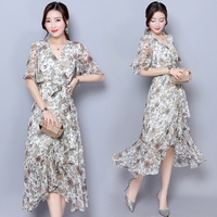 Vintag 1950s 60s Mid Dress Chiffon See Through Party Dresses With Blet Print Floral Loose Boho