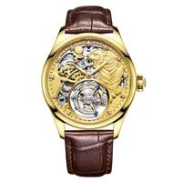 Роскошные золотые Tiger циферблат для мужчин Tourbillon полые механические часы хронограф аналоговые часы кожаный человек наручные часы Бесплатн.
