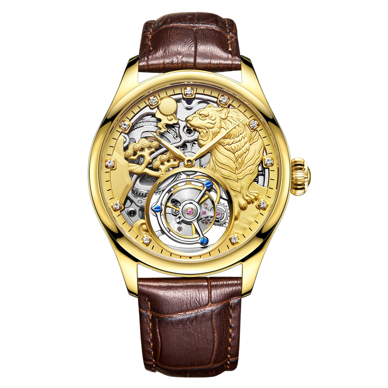 Luxury Gold Tiger Dial Men Tourbillon Hollow Mechanical Watch Chronograph Analog Clock Leather Man Wrist Watches Free Print LOGO