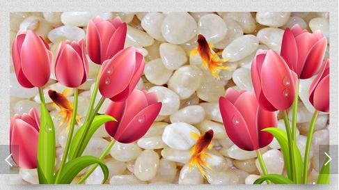 Beautiful Tulips 3d Desktop Background Wallpaper Murals Stereoscopic Paiting Wallpapers Photo Mesa Table Pvc