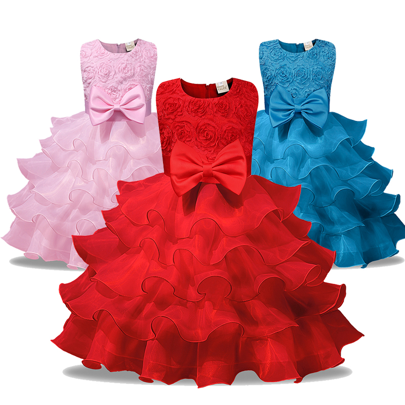 High quality Baby Girls Lace Dance A Line Dress Pearl Princess Dress Party 2018 Summer Baby Girls Clothes Girls Clothing