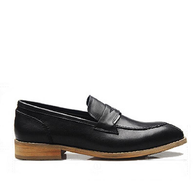 Schwarz Schwarzes brown Hochzeit Kleid Herren Echtem Loafer braun Leder Mycolen Schuhe Mokassin Formale Spitz Business Homme Aus dAqZRx