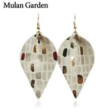 M&G Trendy Genuine Leather Earrings for Women Dangle Leaf Statement Earrings Fashion Jewelry Women Accessories Gift Wholesale
