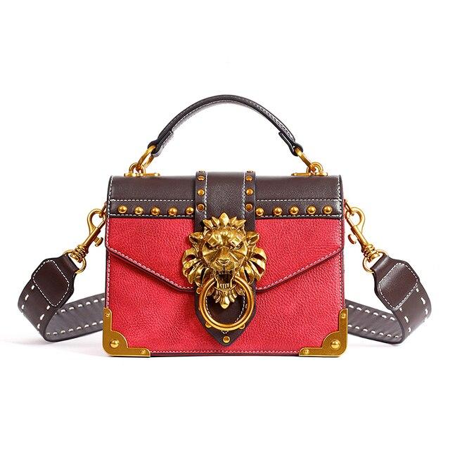 Shoulder Female Lion Head Lock Bag Female PU Leather Messenger Bag  Messenger Handbags Clutch Fashion Party ef4f12bf2b679