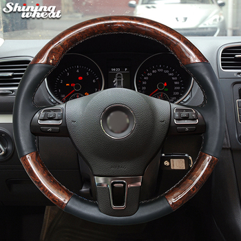 Hand Sew Wood grain PU Carbon Fiber Steering Wheel Cover for Volkswagen VW Gol Tiguan Passat B7 CC Touran Magotan Sagitar