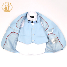 Nimble Boys Formal Suit Single Breasted Solid New School Sky Blue Kids Wedding Suit jogging garcon terno menino costume garcon
