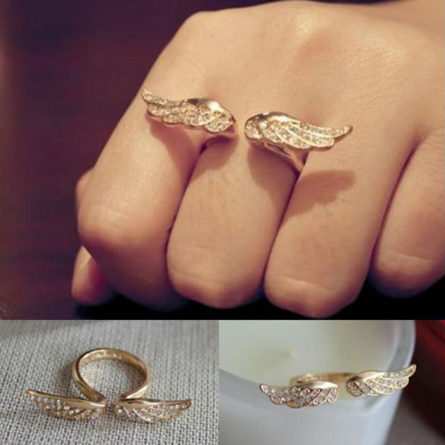Gold Plated Alloy Unique Punk Gothic Angel Wings RingS Full Crystal Rhinestone Animal Ring Jewelry B10R1