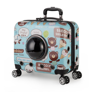 Portable Cartoon Pet Trolley Box for Small Dog Cat Four-wheeled Breathable Pet Carrier with Bubble Window 6.5kg Max Bearing