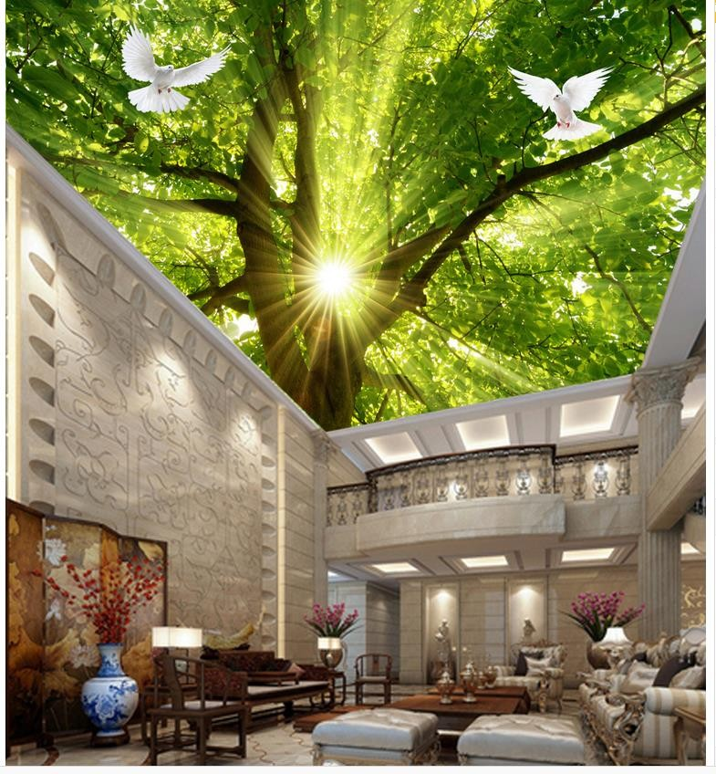 Home Decoration 3d wallpaper nature Sunshine Tree pigeon ceiling Non