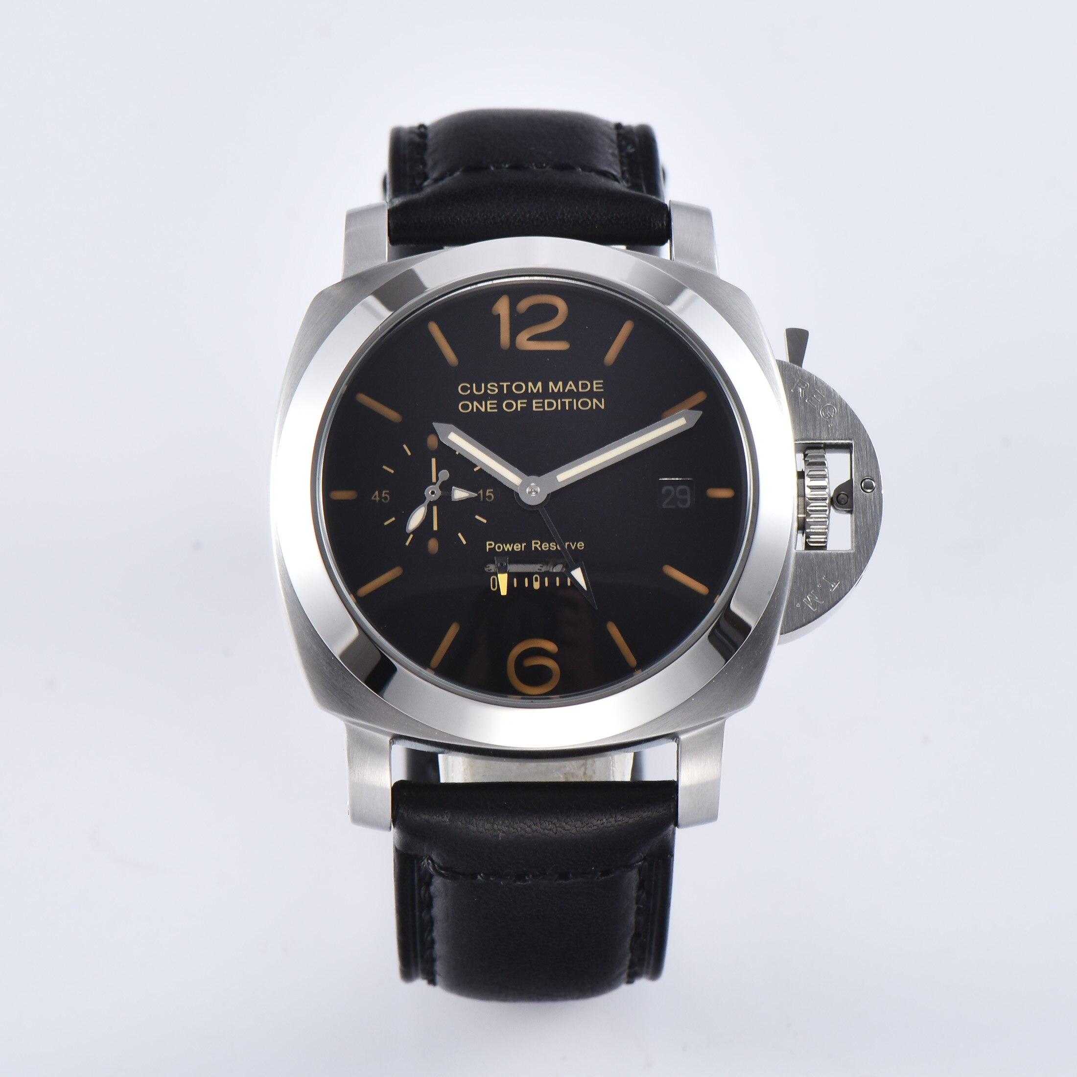 Reloj de reserva de energía de 44MM PARNIS movimiento automático caja de acero inoxidable de plata esfera negra Z425 4-in Relojes deportivos from Relojes de pulsera    1