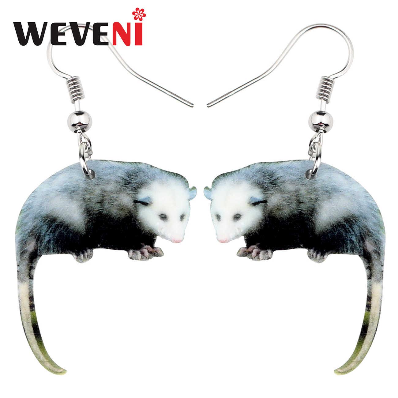 Weveni Akrilik Liar Possum Anting-Anting Drop Menjuntai Lucu Hewan Perhiasan untuk Wanita Gadis Hadiah Pesona Grosir Aksesoris Brincos