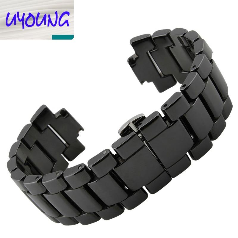 19mm 22mm White Watch Accessories Ceramic Watch Band Strap Bracelets Deployment Watch buckle For AR1424 AR1421 AR1425 AR1426
