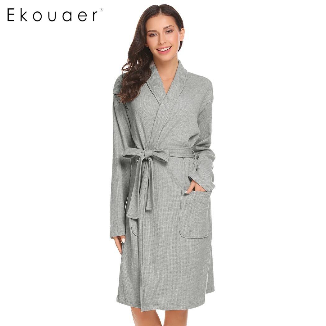 Ekouear для женщин халат для спальни шаль воротник обёрточная бумага с длинным рукавом халат пижамы поясом Хлопок Женский кимоно