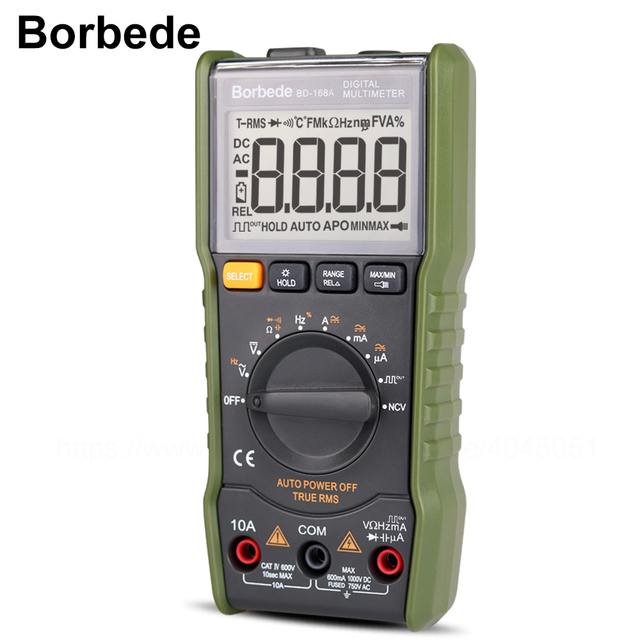 Borbede Digital Multimeter DC AC Capacitance Resistance Square wave output/Temperature Tester 6000 count