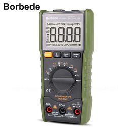 Borbede Digital Multimeter DC AC Voltage Current Capacitance Resistance Square-wave output/Temperature Tester of 6000 count Mini