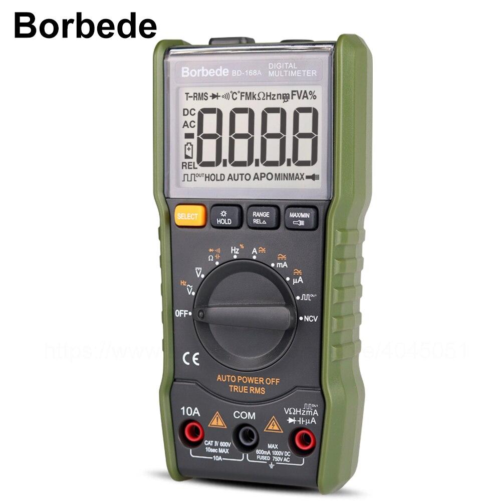 Borbede Multimetro Digitale DC AC Tensione Corrente Capacità di Resistenza uscita ad onda Quadra/Tester di Temperatura di 6000 count Mini