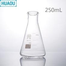 HUAOU 250 мл Erlenmeyer фляжка боросиликатное 3,3 стекло Узкое Горлышко коническая треугольная фляга лабораторное химическое оборудование
