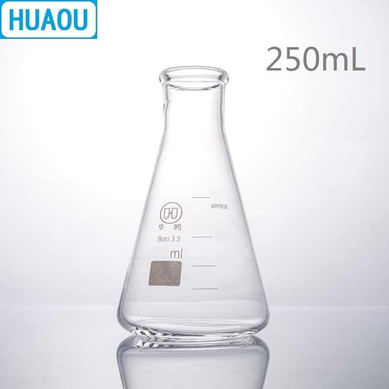 HUAOU 250mL Erlenmeyer Flask Borosilicate 3.3 Glass Narrow Neck Conical Triangle Flask Laboratory Chemistry Equipment