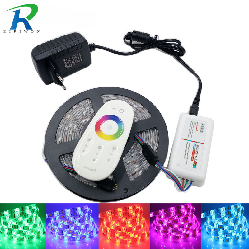 RiRi ganó SMD5050 RGB LED Tira impermeable Led Light DC 12V Cinta Flexible Tira 5M 10M 15M 20M + Touch RGB Controlador + Adaptador