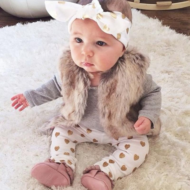 3pcs Baby Girl Clothes Long Sleeve Solid Romper + Love Print Pants +Headband Set Winter Warm Baby Clothes Set 3pcs set newborn infant baby boy girl clothes 2017 summer short sleeve leopard floral romper bodysuit headband shoes outfits