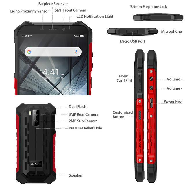Ulefone Armor X3 ip68 Waterproof Smartphone Android 9.0 Mobile Phone 5.5 Inch HD + 2GB 32GB Phone