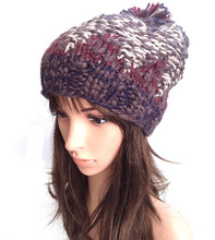 100% ручной работы вязаная шапка Hat Cap мода лоскутная симпатичные женщины зима теплая шапка