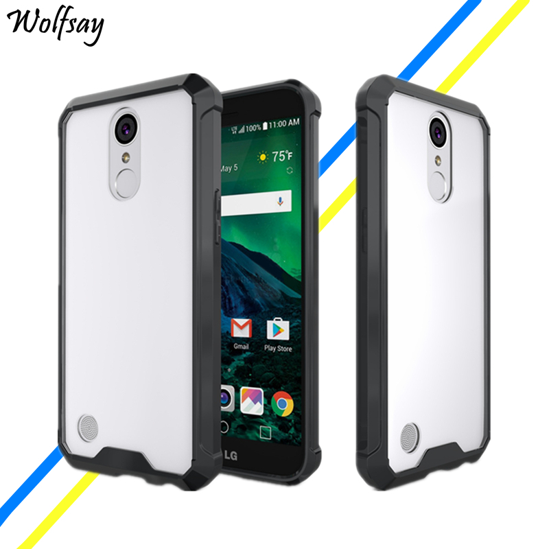 "Wolfsay For Cover LG K10 2017 Case 5.3"" Luxury Transparent Hard Plastic Phone Cases For LG LV5 / X400 / M250N/ K20 Plus Cases"