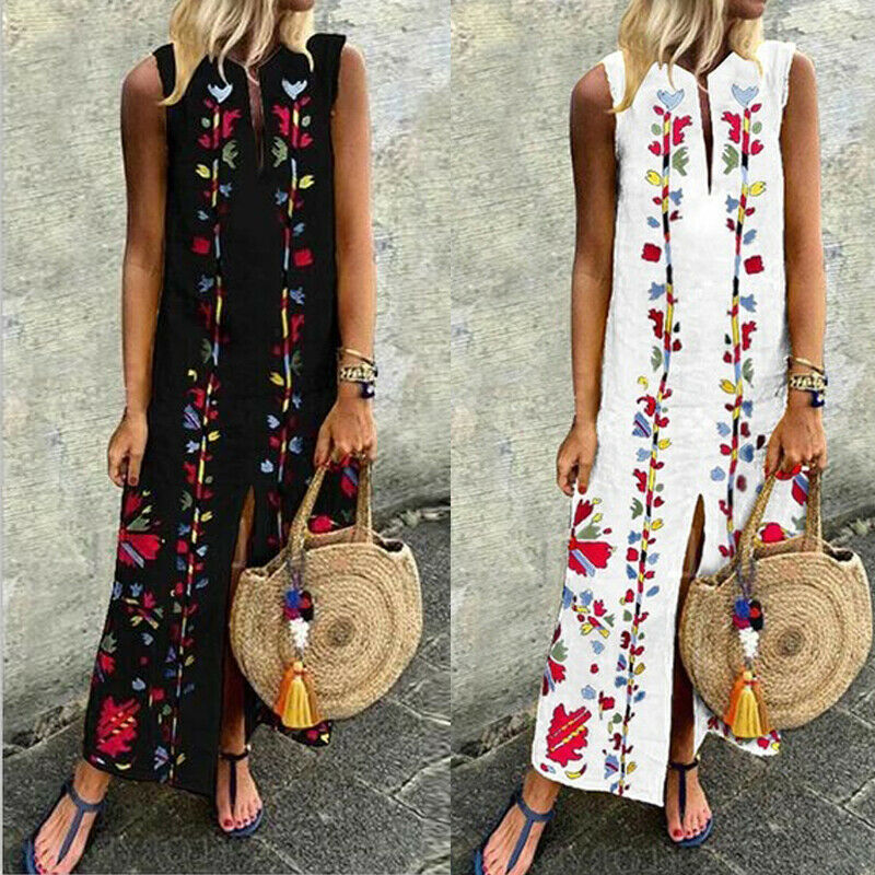 2019 Women's Summer Flpral Boho Casual Long Maxi Party Cocktail Beach Dress Sundress Printed Sleeveless Split Ethnic Wind  Dress