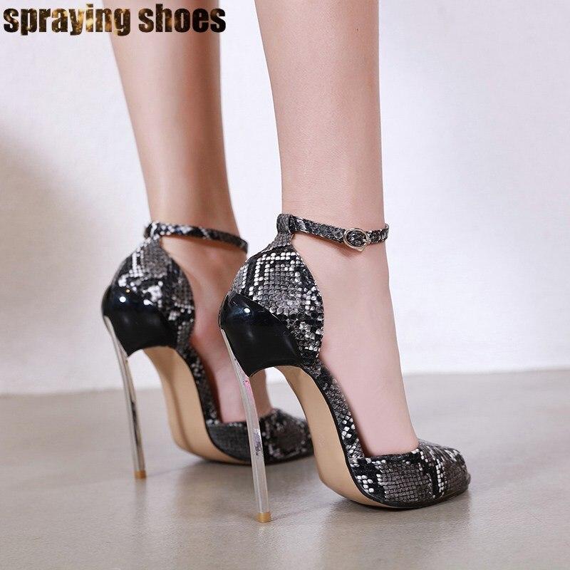 Trendy Women Sexy Peep Toe Snakeskin Neon Green 15CM High Heels Summer Sandals Buckle Strap Platform Ladies Sandals Party Shoes - 3