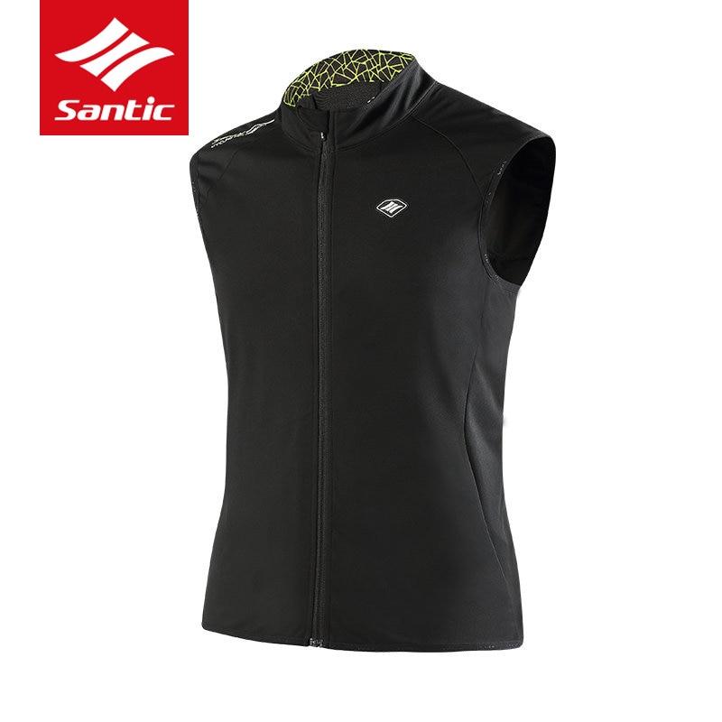 Santic veste de cyclisme hommes sans manches hiver thermique Cycle vêtements coupe-vent vélo de route vélo Jersey descente Ropa Ciclismo