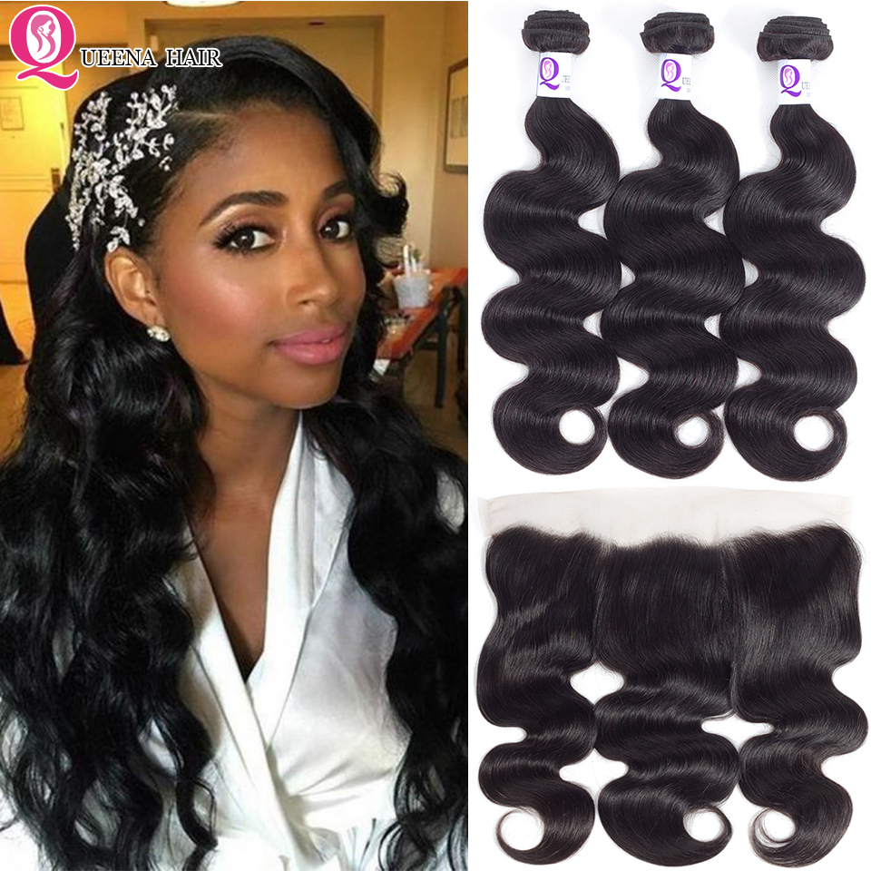 Cheap 3 Bundles With Frontal Body Wave Bundles With Ear To Ear Closure Brazilian Hair Weave Bundles With Lace Frontal Closure