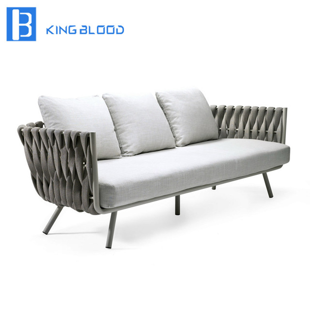 Outdoor Woven Furniture For Hotel Metal Rope Garden Sofa Chair