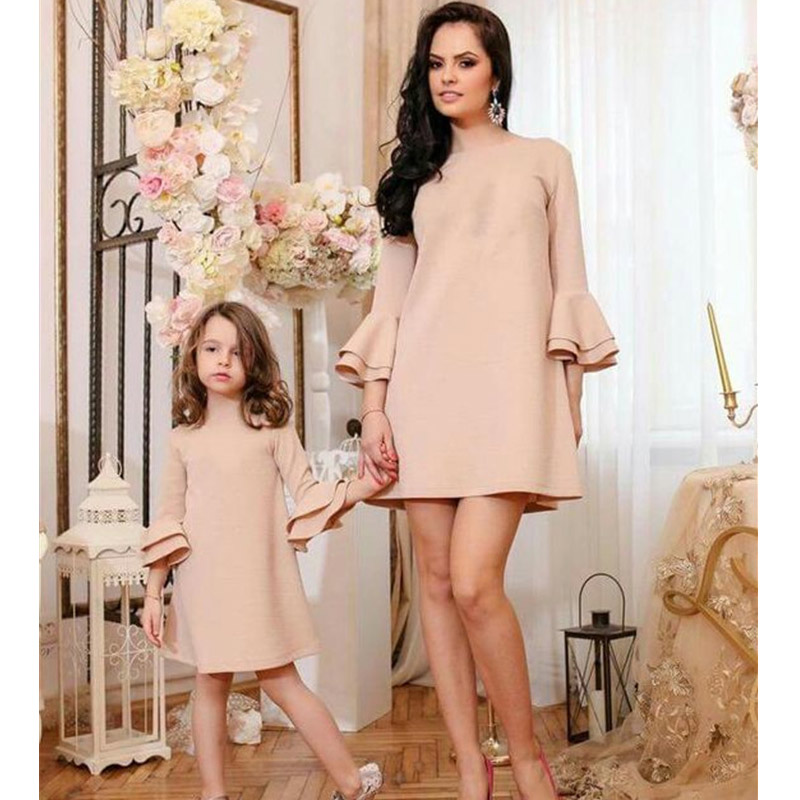 Mother Daughter Dresses  Family Matching Clothes Mama Mom Mother & Kids Girls Family Look Half Sleeve Knee-length Dresses