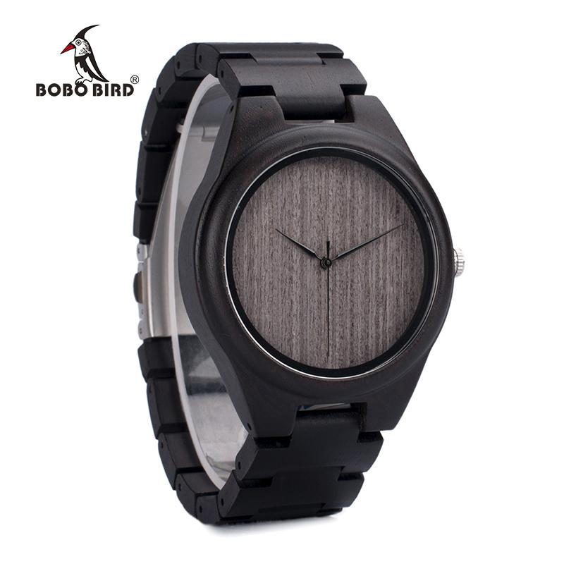 BOBO BIRD Mens Black Ebony Wooden Watches Wood Links Causal Quartz Wrist Watch in Gift Box custom logo 5