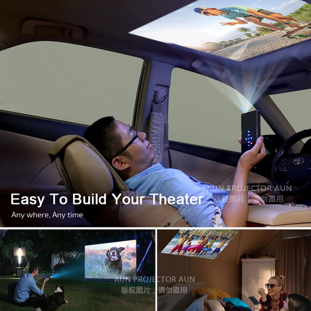 AUN Smart Projector, D5S, Android 7.1 (Optiona 2G+16G) WIFI, Bluetooth, HDMI, Home Theater Mini Projector (Optional D5 White) 2