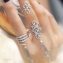 Роскошные ААА цирконий свадебные кольца Микро открыть полые серебряные кисточкой цветок левая рука кольцо костяшки пальцев ювелирных аксессуаров двойной