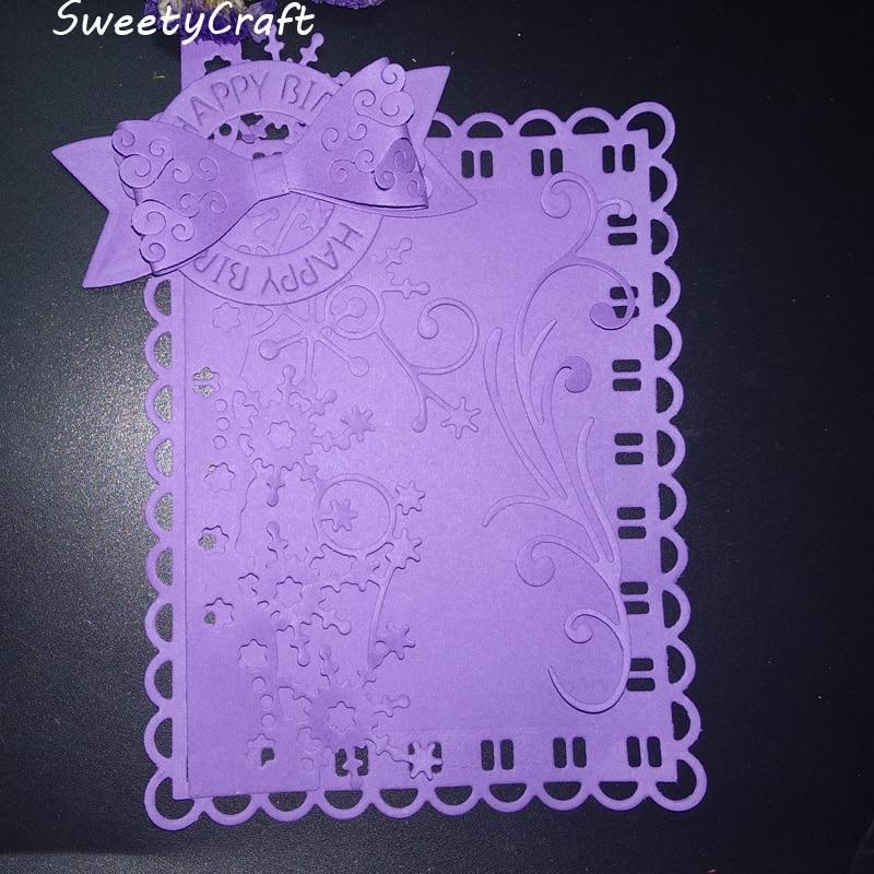 dies scrapbooking lace frame happy birthday metal cutting