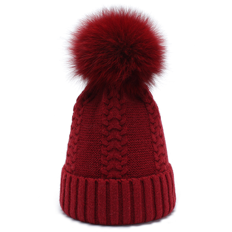 Women Beanies Real Fox Pompom Wool Skullies 2017 Autumn Winter Thick Warm Knitted Wool Hats For Girls skullies