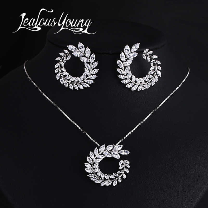 Two Size New Design Luxury AAA Zircon Olive Branch Earrings and Pendant Jewelry Sets For Fashion Women Wedding Jewelry Set AS128