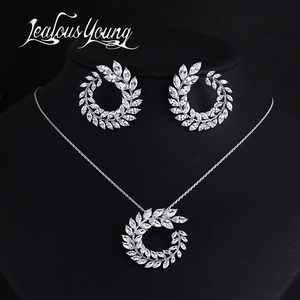 Two Size New Design Luxury AAA Zircon Olive Branch Earrings and Pendant Jewelry Sets For Fashion Women Wedding Jewelry Set AS128(China)