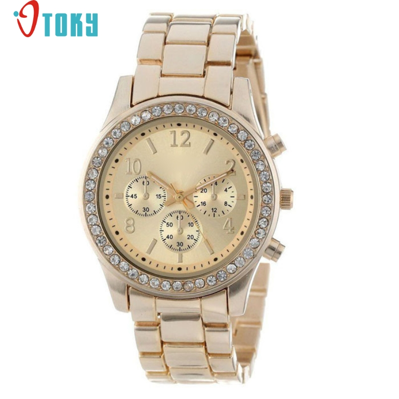 Excellent Quality OTOKY New Fashion Chronograph Quartz Plated Classic Round Lady Watch Women Crystals Wristwatches